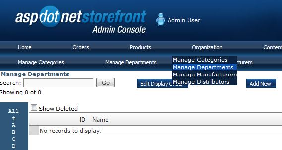 Navigate to the manage departments screen.