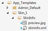 The folder structure of the skin info data